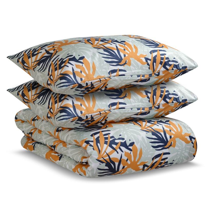 Комплект постельного белья двуспальный из сатина цвета шафрана с принтом Tkano Leaves