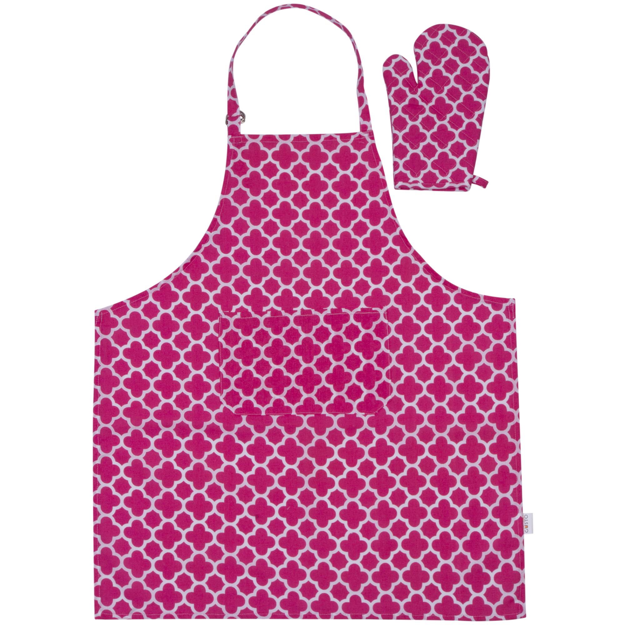 Набор для кухни (варежка+фартук) Клевер фуксия панели для кухни фартук в курске
