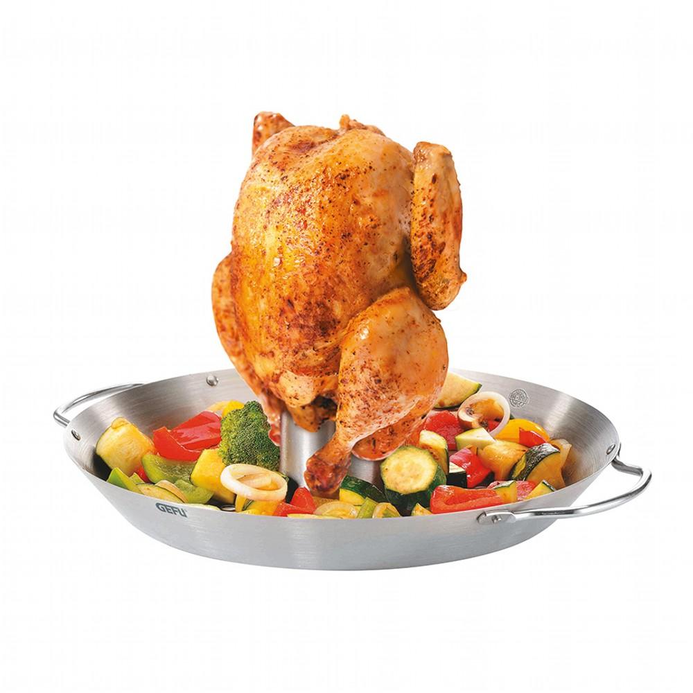 Ростер для курицыРостер сделан из высококачественной стали. Он предназначен для равномерного поджаривания курицы на гриле. Курица получается сочной, с хрустящей корочкой. В комплект также входит поддон объемом 300 мл.для маринада. Угостите вашу семью сочной и вкусной курочкой.<br>