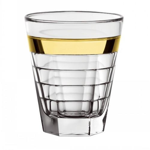 Стакан, золотая полоса 0,43 л. BAGUETTEСтакан для напитков серии Baguette сделан из уплотненного стекла, а золотая и платиновая полосы высечены вручную, что придает ему особый шик и богатство. Стакна отличным украшением и сервировкой вашего праздничного стола.<br>