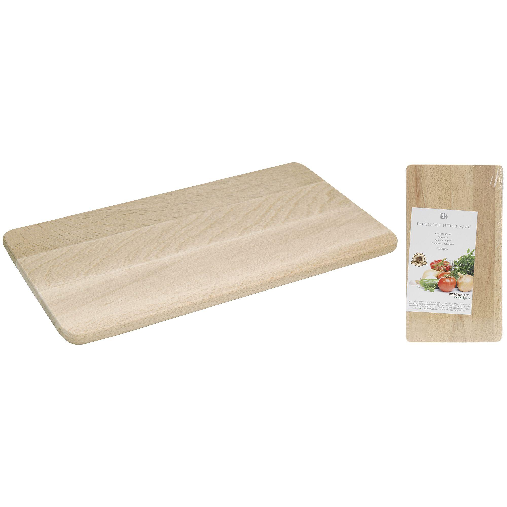 Доска разделочнаяЭргономичная разделочная доска Excellent Houseware займет достойное место на любой современной кухне. Доска выполнена в форме прямоугольника и имеет размеры 27,5 на 15 см, поэтому на ней удобно резать и разделывать продукты различного размера. Благодаря тому, что доска изготовлена из натуральной древесины, она защищена от появления и размножения вредоносных микроорганизмов. Использование деревянной доски безопасно и экологично, в отличие от пластиковых досок. Изделие легко мыть обычной водой, оно не впитывает запахи и не деформируется во время длительного использования. Кроме того, деревянная доска всегда смотрится эффектно в интерьере кухни.<br>