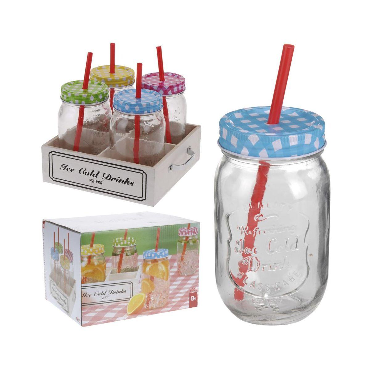 Набор стаканов 4 шт (в форме банки) с крышками и соломками 500 млнабор стаканов (в форме банки) с крышками и соломками, емк. 500 мл<br>