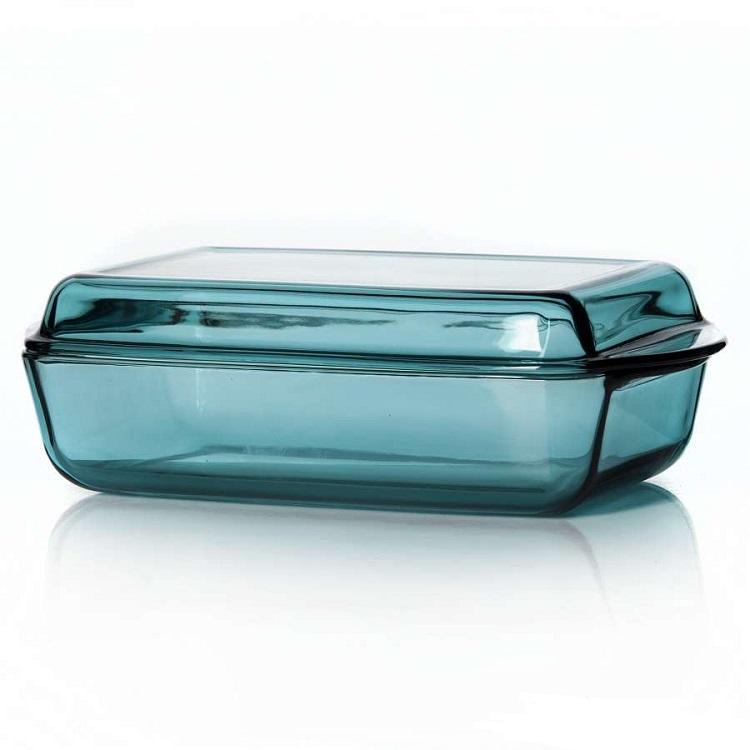 Форма для запекания с крышкой 2,7 л.Посуда для СВЧ прямоугольная 2,75 л цветное стекло<br>