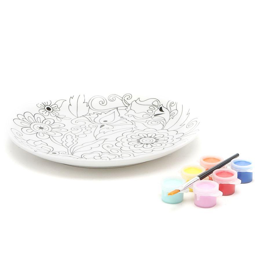 Набор: Тарелка, краски, кисточка Цветы199FLES Тарелка,краски,кисточка Цветы D19.5см,фарфор<br>