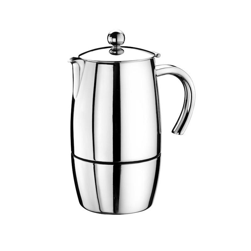 Кофеварка гейзерная MAGNA на 4/2 чашкиКофеварка гейзерная MAGNA от итальянской компании Pintinox поможет приготовить вкусный и ароматный турецкий кофе без гущи, а также позаботится о том, чтобы плита осталась чистой, а Вы довольны качеством и вкусом напитка. Кофеварка из нержавеющей хромированной стали надолго сохранит свой первоначальный вид и неприхотлива в уходе и обращении. Объём: 240 мл. Подходит на 4/2 чашки.<br>