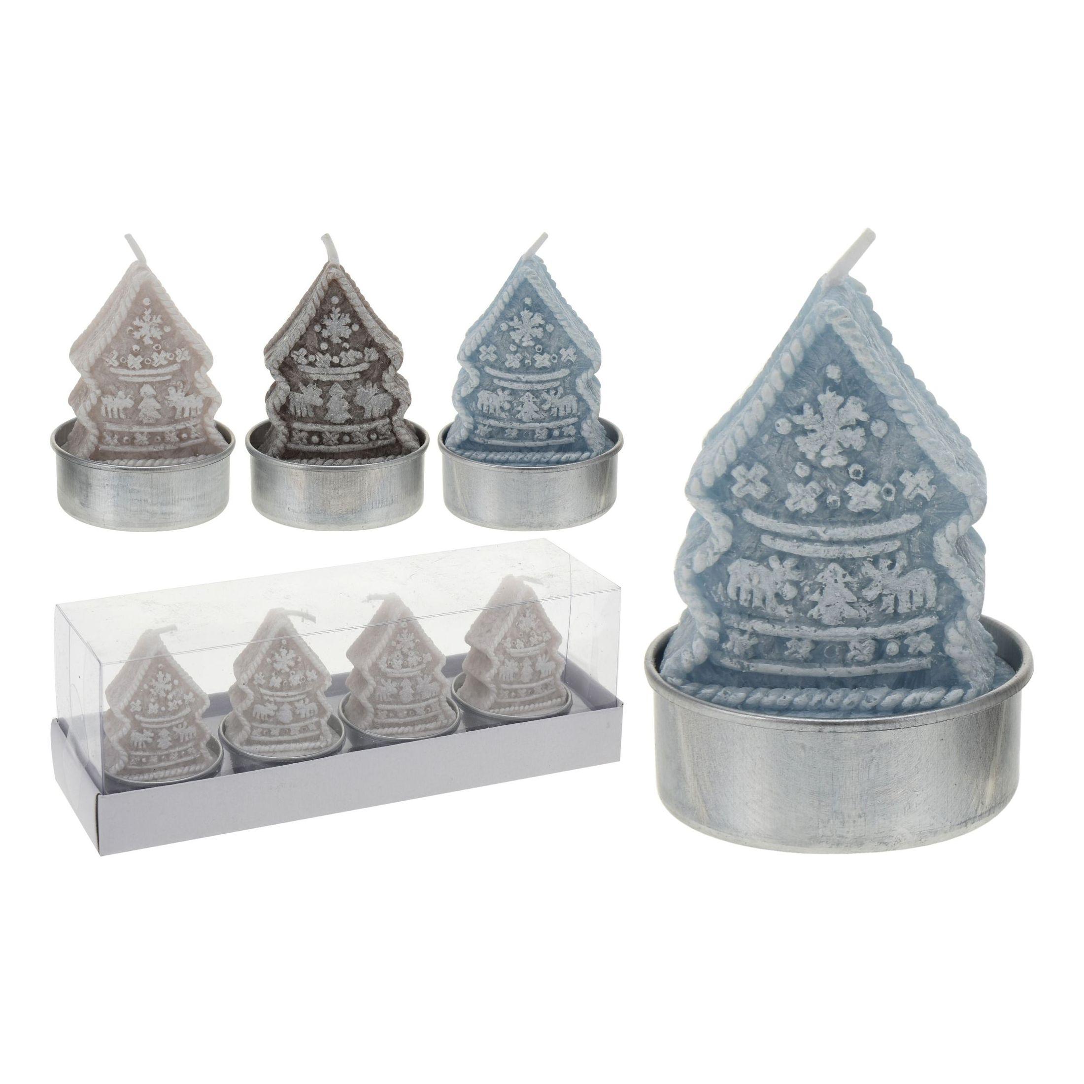Набор свечей чайных 4 шт Елка в ассортименте<br>