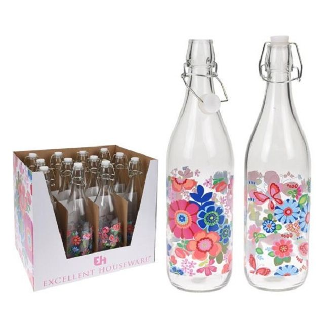 Бутылка с крышкой 1лЯркий цветочный рисунок это стеклянной бутылки делает ее привлекательным кухонным аксессуаром, в котором можно красиво подать соки, молоко, прохладительные напитки. Объем удобен в использовании для семьи из 3-4 человек. Изделие выполнено из прозрачного стекла и закрывается плотно притертой пробкой с резиновым уплотнителем, снабженной металлической клипсой. Герметичное закрывание помогает дольше сохранить в свежем виде ваши любимые напитки и предотвратить прокисание.<br>