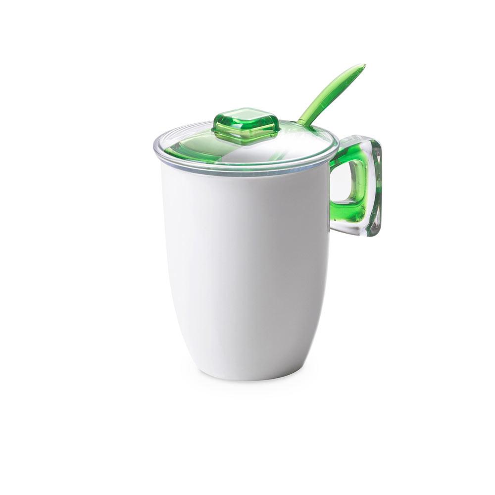 Кружка для заваривания чая с крышкой, ложкой и фильтром 0,35 л Square, зеленая