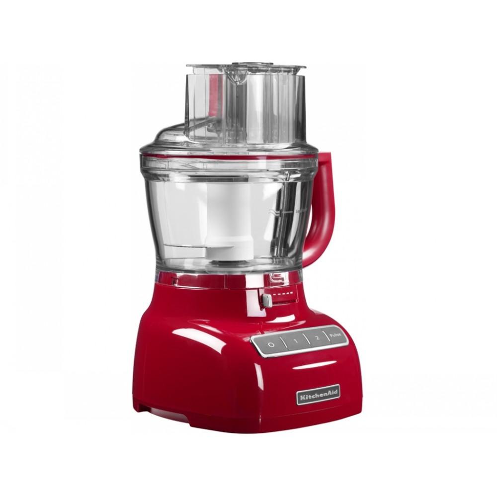 Комбайн кухонный KitchenAid. Две скорости  и импульсный режим красныйКомбайн достаточно многофункциональный, в нем можно замешать и взбить тесто, нарезать любые овощи в больших объемах, возможность взбить яичные белки с сахаром до вязкой констистенции для приготовления таких сложных десертов как безе. Мощность комбайна - 300 Вт., комбайн сделан из пластика, что позволяет легко очищать его от различных загрязнений.<br>