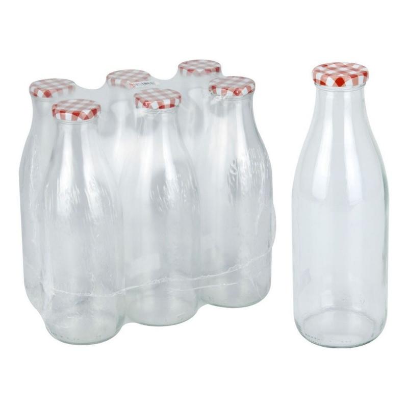 Бутылка с крышкой 1 л.Стеклянная бутылка с закручивающейся крышкой выполнена в ретростиле и напоминает простые деревенские бутыли для молока. Именно поэтому в такой бутылке удобно и очень аппетитно хранить молоко или простоквашу. Крышечка прорезинена, поэтому закрывается герметично. Материалы изделия выдерживают высокие температуры кипячение и стерилизации - бутылка может использоваться для домашнего консервирования жидких продуктов: соков, заливок, соусов.<br>
