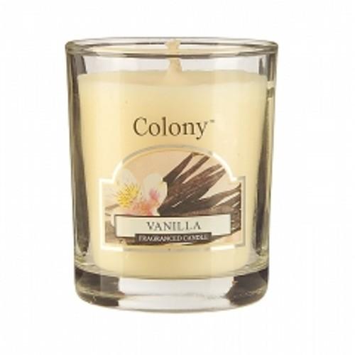 Свеча ВанильАроматическая свеча с ароматом Мандарина и персика очень освежает помещение и придает ему изумительный аромат спелых фруктов. В помещении постоянно ощущается чистота и комфорт, комната всегда наполнена свежим ароматом спелого персика и сладкого мандарина. Свеча может гореть до 16 часов.<br>