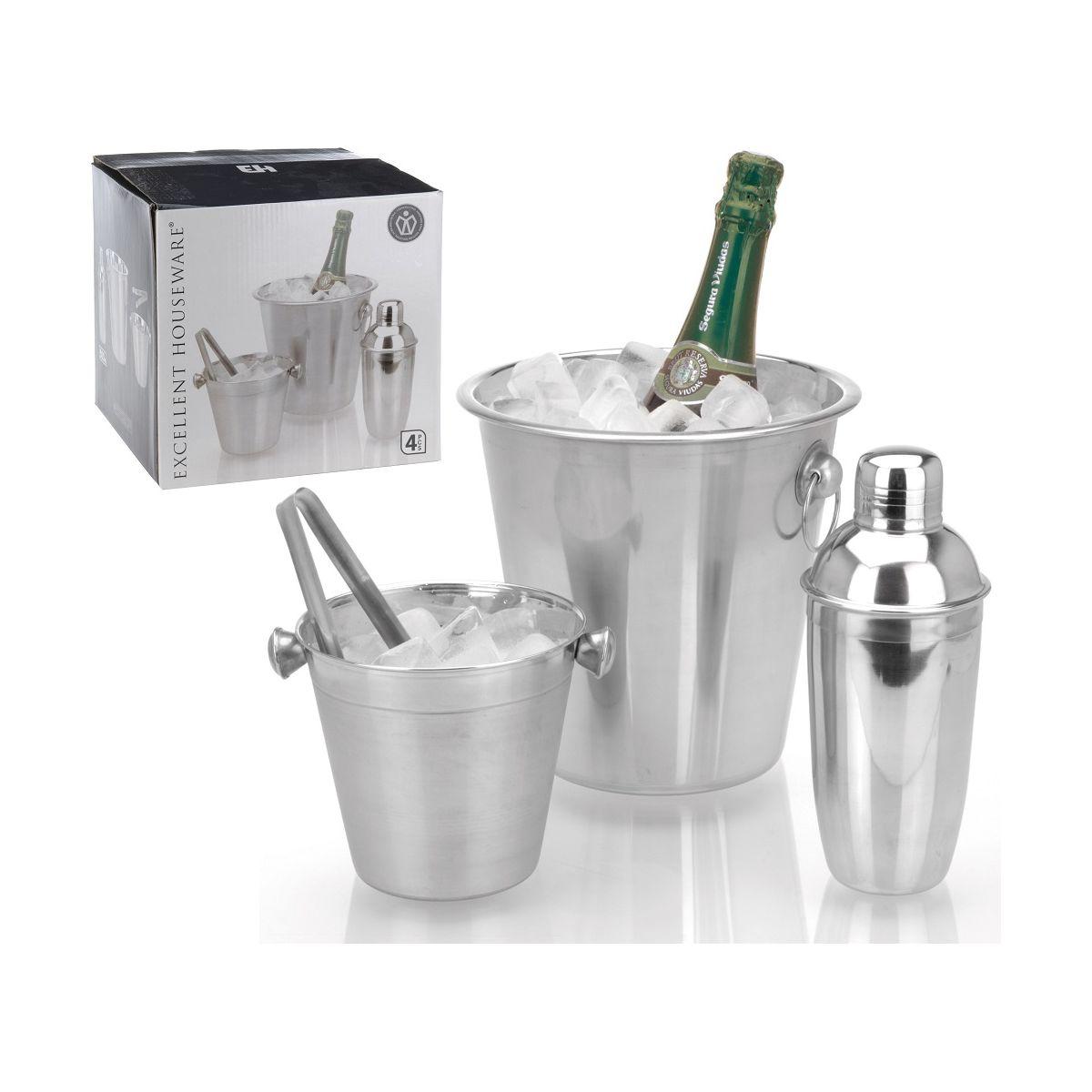 Набор коктейльный: шейкер, ведро д/шампанского/вина, щипцышейкер д/ коктейля (ёмк. 500 мл), ведро для охлаждения шампанского/вина, щипцы (дл. 12 см)<br>