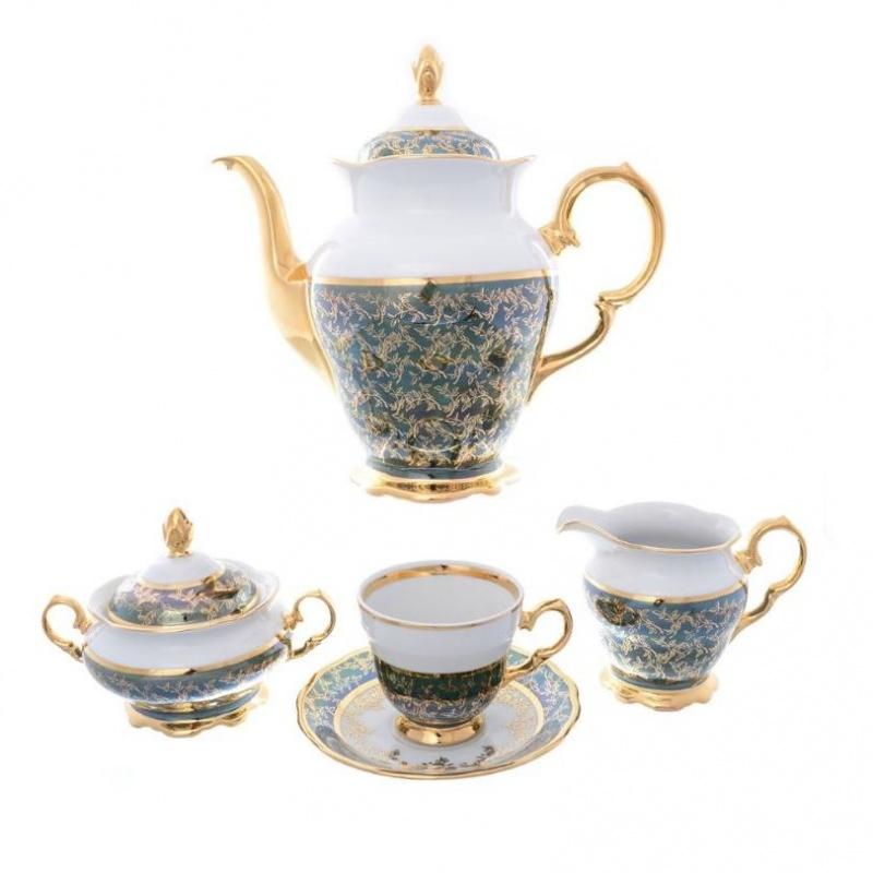 Кофейный сервиз сервиз Sterne porcelan Зеленый лист 6 персон 17 предметов