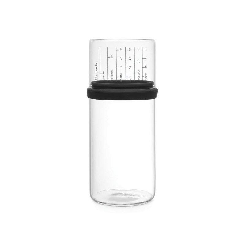 Банка стеклянная с мерным стаканом 1,0л Tasty colours Черный