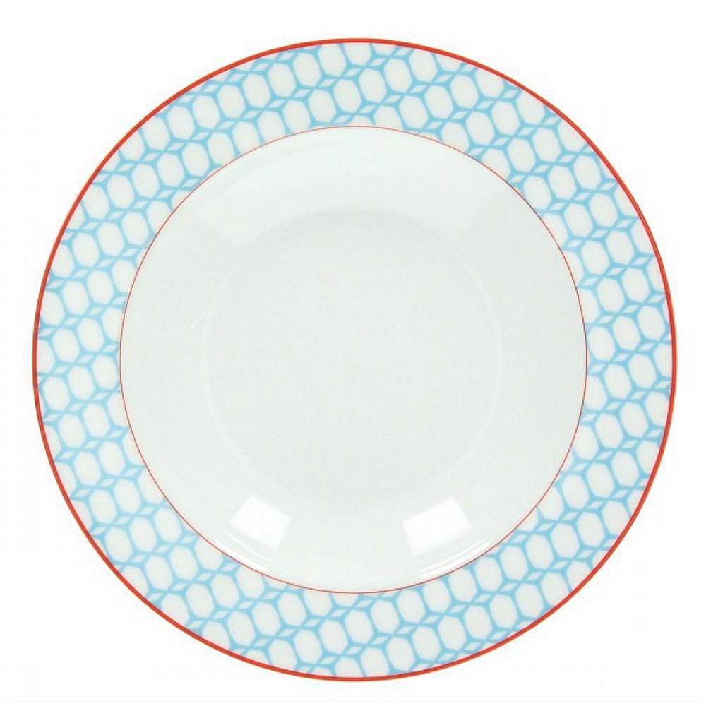 Тарелка суповая OLIMPIA  KUBIK AZТарелка для супа фирмы Tognana сделана из высококачественного фарфора. Имея оригинальный дизайн, тарелка отлично подойдет для украшения и сервировки ваших блюд. Этот элемент посуды является неотъемлемым на любой кухне.<br>