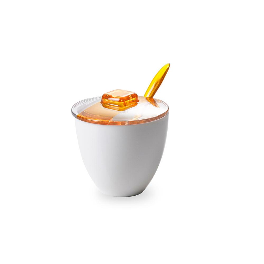 Сахарница с крышкой и ложкой 0,18 л Square, желтая