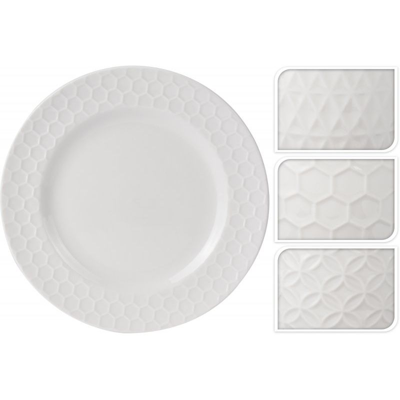 Тарелка РельефОбеденная тарелка «Рельеф» имеет круглую плоскую форму большого диаметра. Может использоваться по своему прямому назначению для подачи основных горячих мясных/рыбных блюд, а также в качестве подстановочной тарелки или блюда для закусок. Имеет нейтральный белый цвет с рельефной окантовкой в нескольких вариантах. Тарелка изготовлена из качественных материалов с высокой степенью прочности, которые противостоят возникновению царапин от ножей и вилок. Изделие можно использовать в качестве подарка на праздник. Она впишется в интерьер любой современной кухни и прекрасно дополнит уже имеющуюся посуду.<br>
