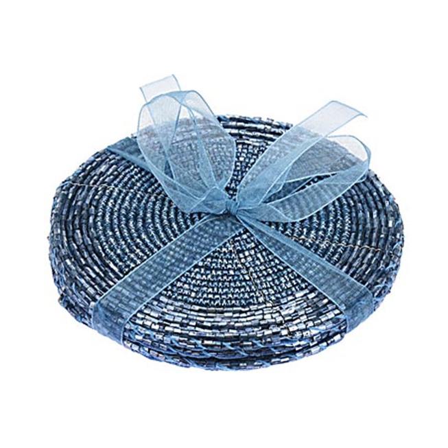 Набор салфеток сервир. Бисер 4шт d10 см голубой