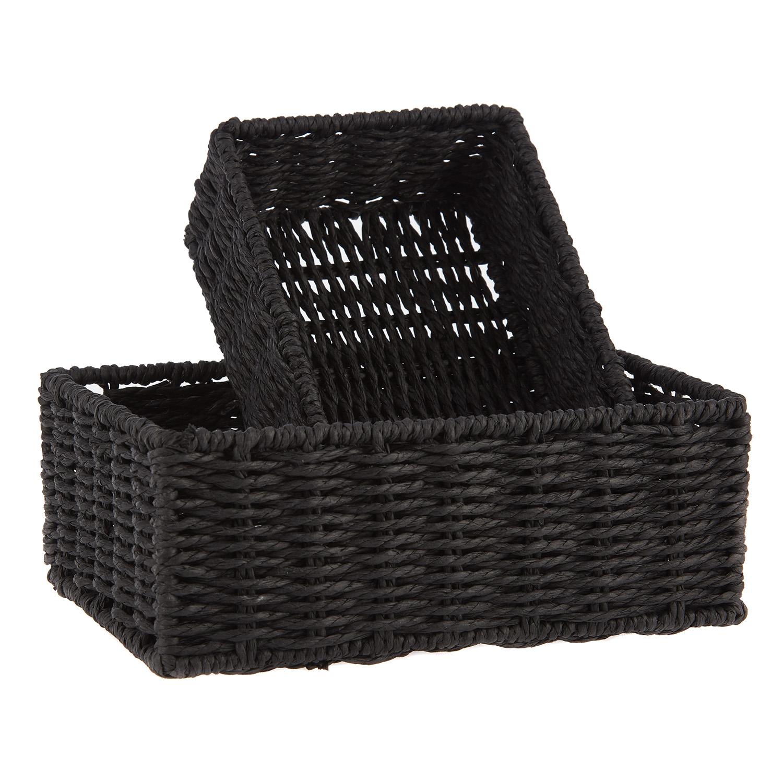 Набор емкостей плетеных 2шт. 20х14х7, 24х18х9см черный<br>
