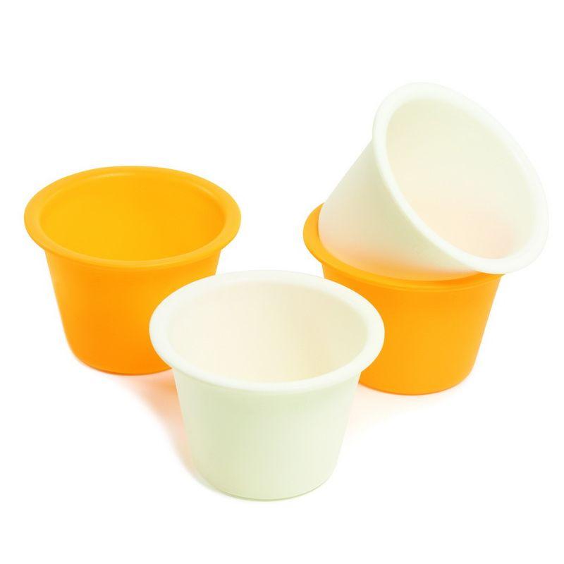 Набор для приготовления пудинга/кесов 4 шт.Набор для приготовления пудинга/кексов будет часто использоваться у той хозяйки, которая любит возиться с выпечкой. Составляющие набора одинакового размера, все сделаны качественно, из эластичного силикона, благодаря которому легко возвращаются в нужную форму. Выпечка в таких формочках не будет сопровождаться посторонним запахом или привкусом, а само изделие при изъятии не повредится, т. к. для его извлечения достаточно отогнуть гибкие края емкости. За силиконовыми формами просто ухаживать, достаточно протереть губкой. Хранить компактный набор для приготовления пудинга/кексов можно в обычном шкафу, в нем он не займет много пространства.<br>
