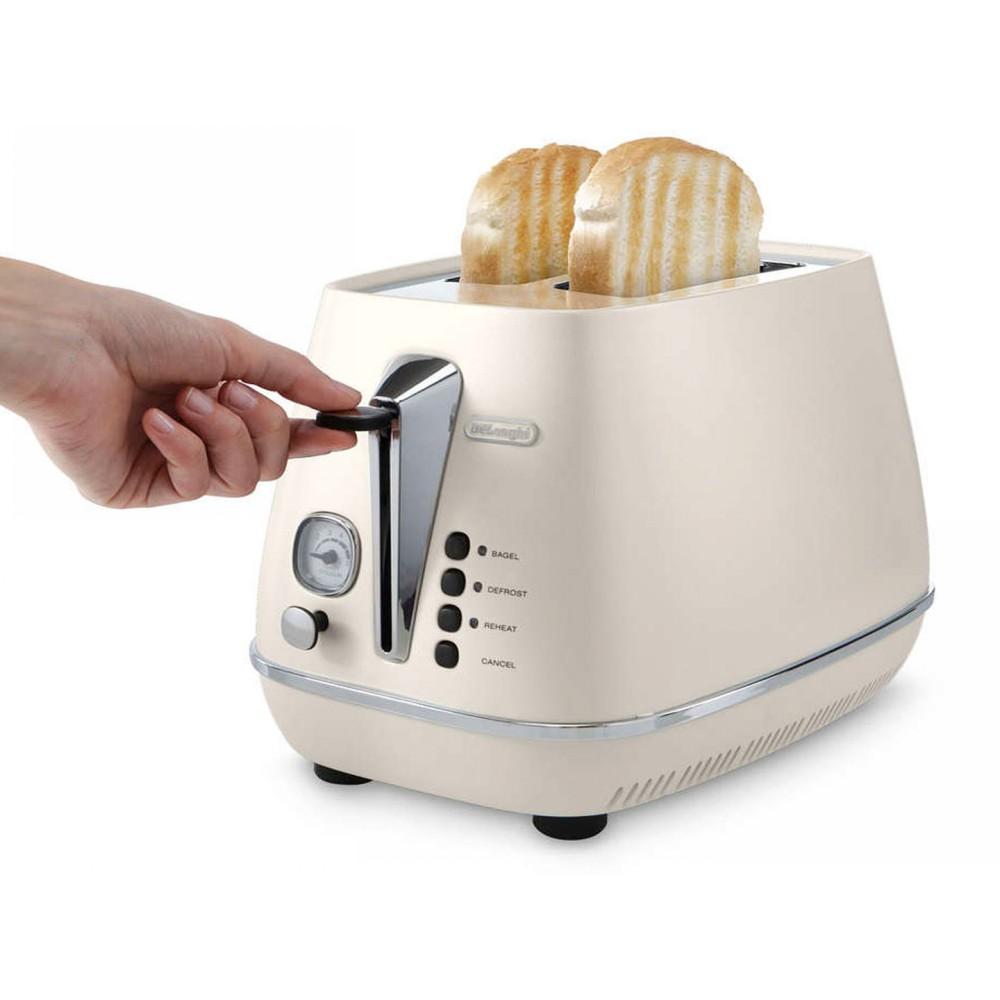 Тостер CTI2103.W белый DeLonghiТостер изготовлен из металла. Имеется функция автоцентрирования тостов. Тостер имеет электронный тип управления, режим подогрева и разморозки, а также функцию защиты от перегрева. В комплекте к тостеру идет решетка для булочек.<br>