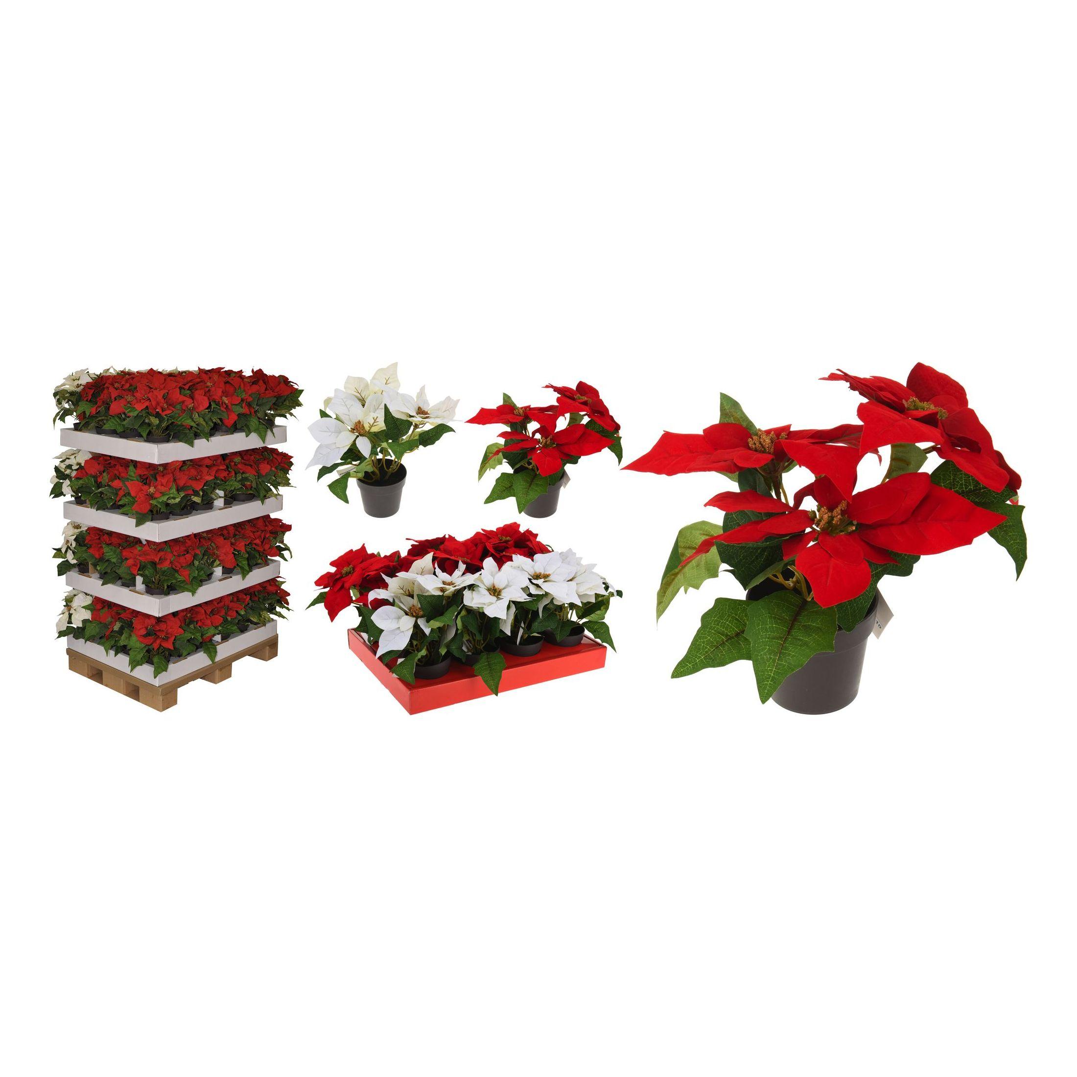 Цветок рождественский искусственный в горшке 24 см в ассортименте<br>
