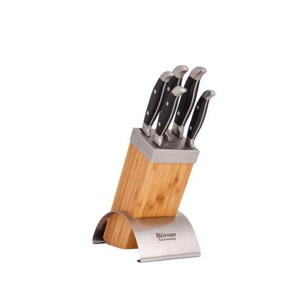 Набор 5 ножей в деревянной подставке MEXICOНабор, состоящий из 5 ножей и подставки из дерева от Борнер, представляет собой качественные изделия из твердой стали. Включает несколько ножей для каждого вида работ с продуктами. В комплект входит оригинальная подставка из металла и бамбука. Ручки изделий состоят из пластика с отличными характеристиками ударопрочности, имеют уникальную балансировку веса. Благодаря стильной и прочной подставке набор подойдет к любому интерьеру кухни. Качество ножей будет радовать хозяйку в течение долгих лет.<br>