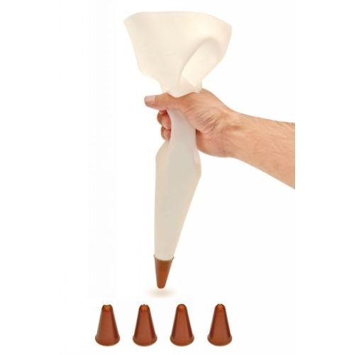 Мешок кондитерский силиконовый с насадками 5 шт.Мешок кондитерский фирмы Iris отлично подойдет для украшения ваших тортов, пироженых, капкейкой и кексов. С помощью него вы с легкостью сможете создать любой рисунок или объемную фигуру.<br>