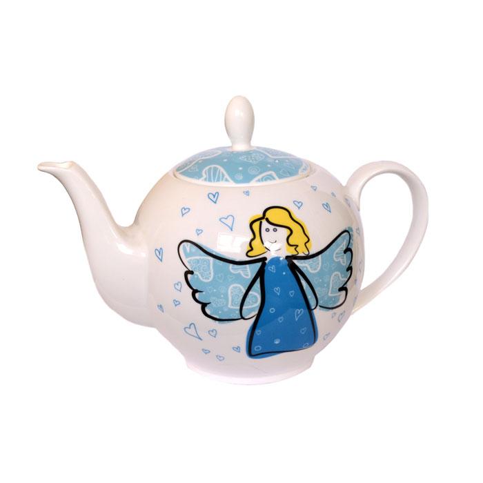 Чайник Небесный ангел  1 лЧайник Небесный ангел станет превосходным выбором для любого дома. Емкость для заваривания чая имеет классическую форму и изготовлена из высококачественного костяного фарфора, который отлично сохраняет тепло и обеспечивает напитку богатый и приятный аромат правильно заваренного чая. Емкость чайника составляет 1 л, что позволяет одновременно приготовить заварку для всей семьи или для целой компании гостей. Чайник Небесный ангел укомплектован удобным ситечком. Рисунок на изделии изображает парящего ангела с распростертыми крыльями на фоне сердечек.<br>