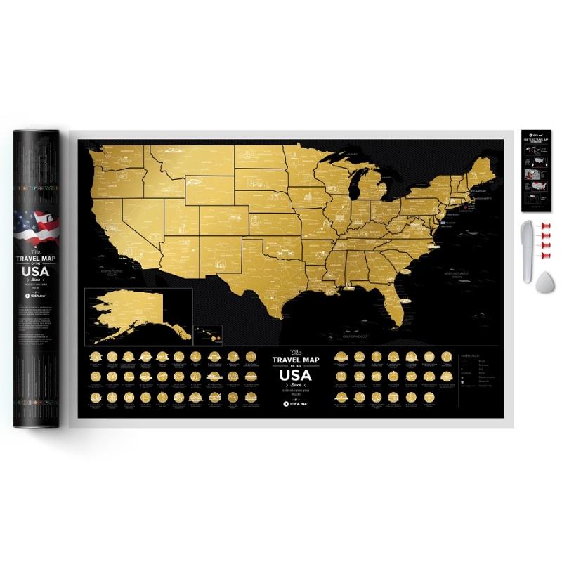 Карта Travel Map USA черная