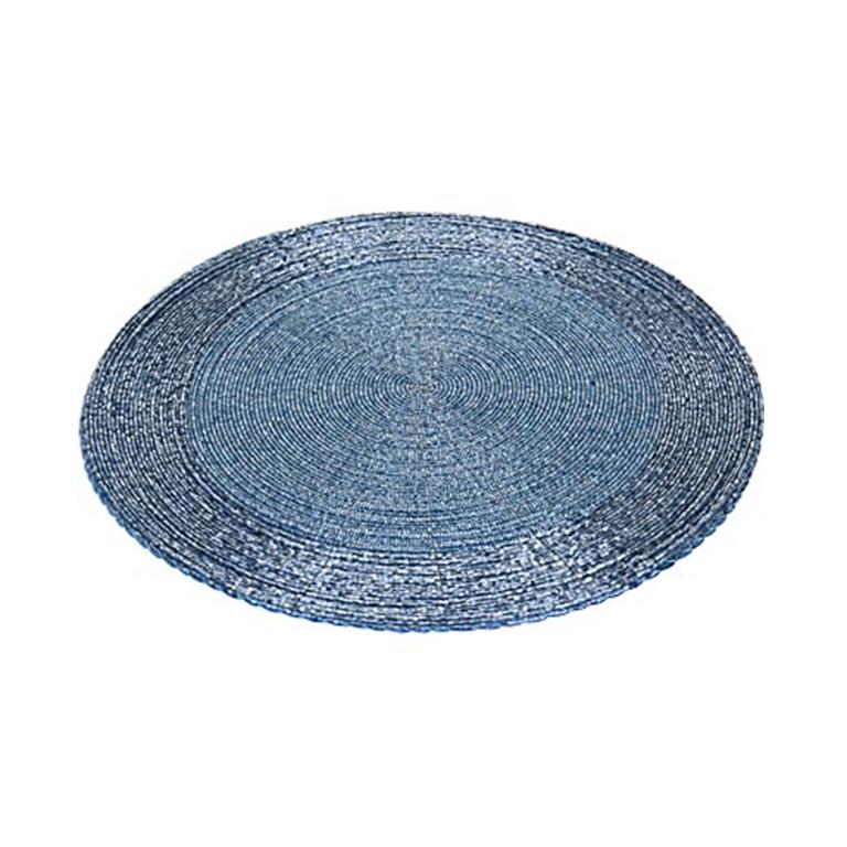 Салфетка сервировочная бисерная 30 см голубая