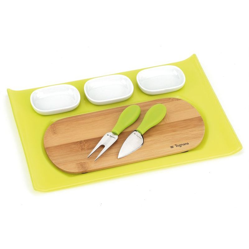 Набор д/сыра 7 пр. (поднос, доска, пиалы 3 шт, нож д/сыра, вилка д/сыра), зеленый