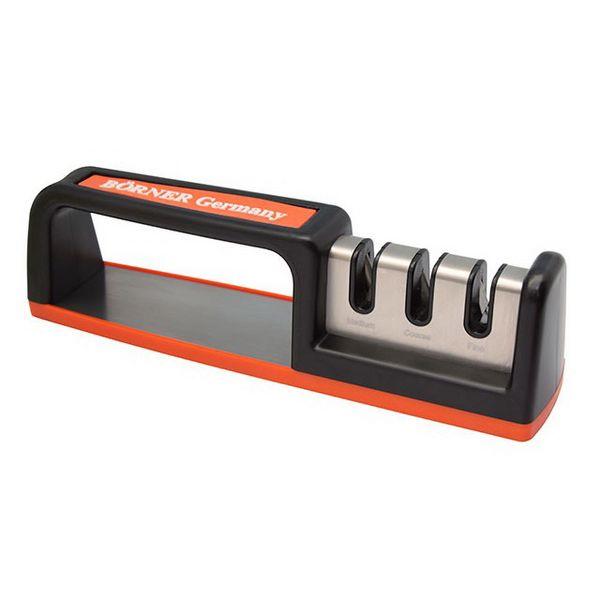 Купить Точилка д/ножей трёхзонная настольная оранжевая, Borner