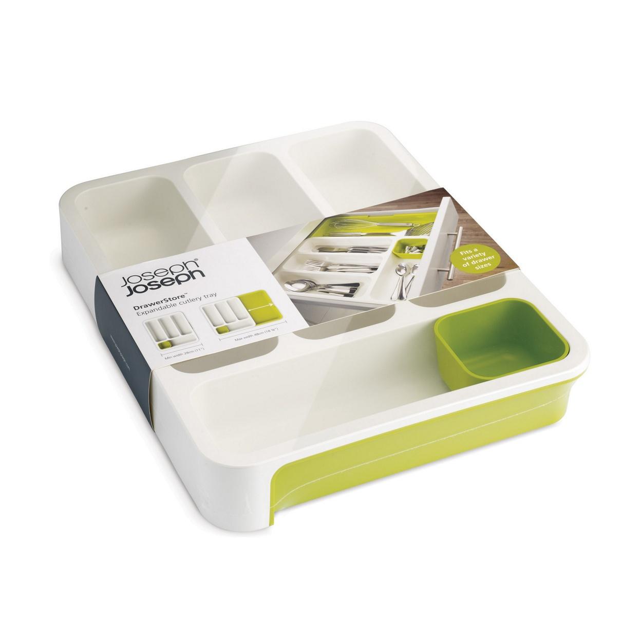 Лоток раздвижной для столовых приборов зеленыйХит продаж в Англии! Теперь и вы сможете купить его. Восхитительный органайзер-лоток для хранения столовых приборов поможет навести на кухне полный порядок и расставить все по местам. Благодаря специальной съемной части Вы сможете отрегулировать размер до желаемого и поместить в ящик. Лоток обладает специальной съемной ячейкой для хранения всякой мелочи как в лотке, так и вне его. Размеры (см): 36,5 x 28,3 x 5,5 (в сложеном виде); 36,5 x 48 x 5,5 (в разложенном виде)<br>