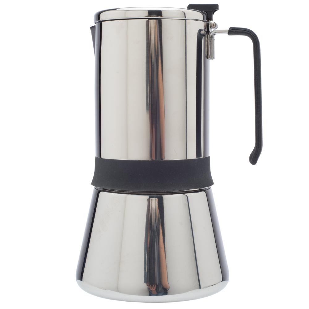 Кофеварка гейзерная AROMA на 4 чашкиКорпус гейзерной кофеварки Aroma выполнен из литого алюминия. С ее помощью вы сможете приготовить до 4 чашек ароматного свежесваренного кофе на любой плите (кроме индукционной). Ручка изготовлена из высококачественного ABS пластика.<br>