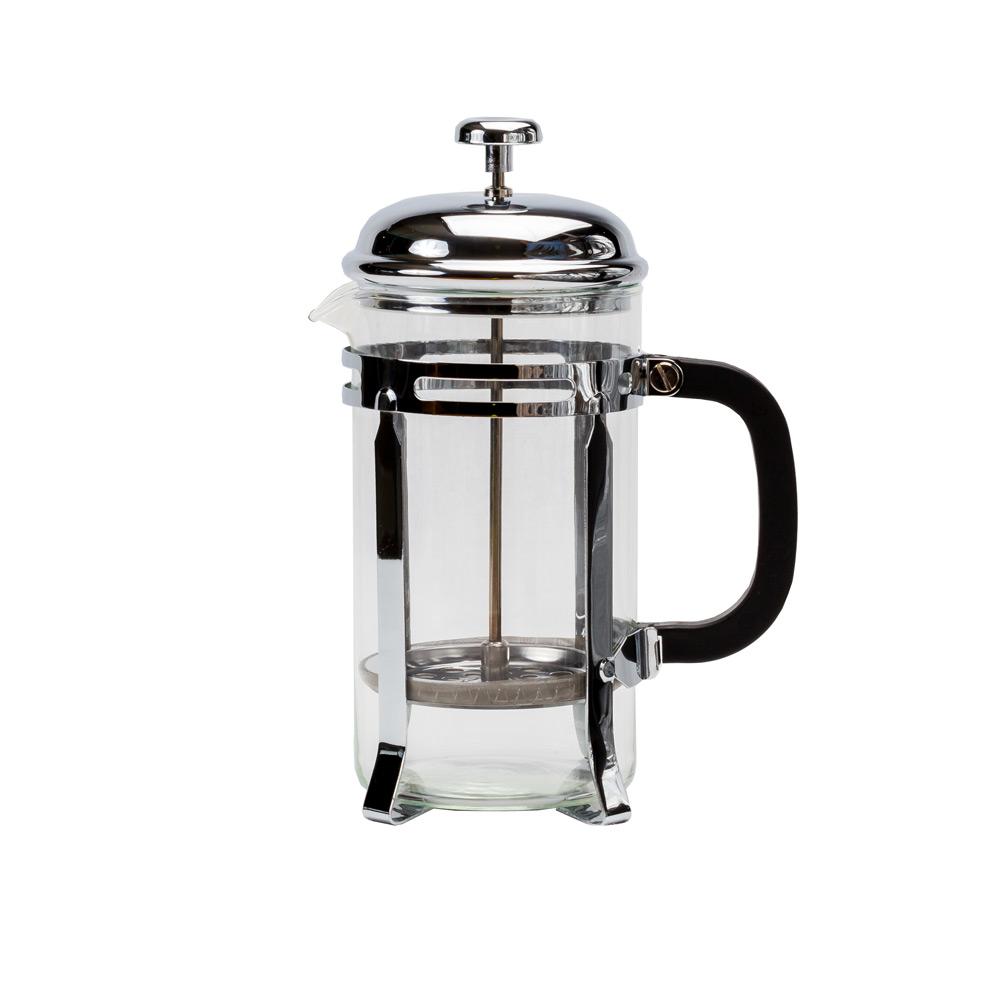 Кофейник с прессом, 1000млКофейник имеют интересный современный дизайн и изготовлен из прозрачного стекла и металла. Использовать такой кофейник на кухне очень удобно. Приготовив в нем кофе в чашку Вы переливаете только самое вкусное, а крупинки останутся на дне кофейника. Благодаря прозрачному стеклу можно насладится насыщенным бархатистым цветом любимого кофе. Также в кофейнике кофе остается дольше горячим, что особенно будет приятно в холодное время года.<br>