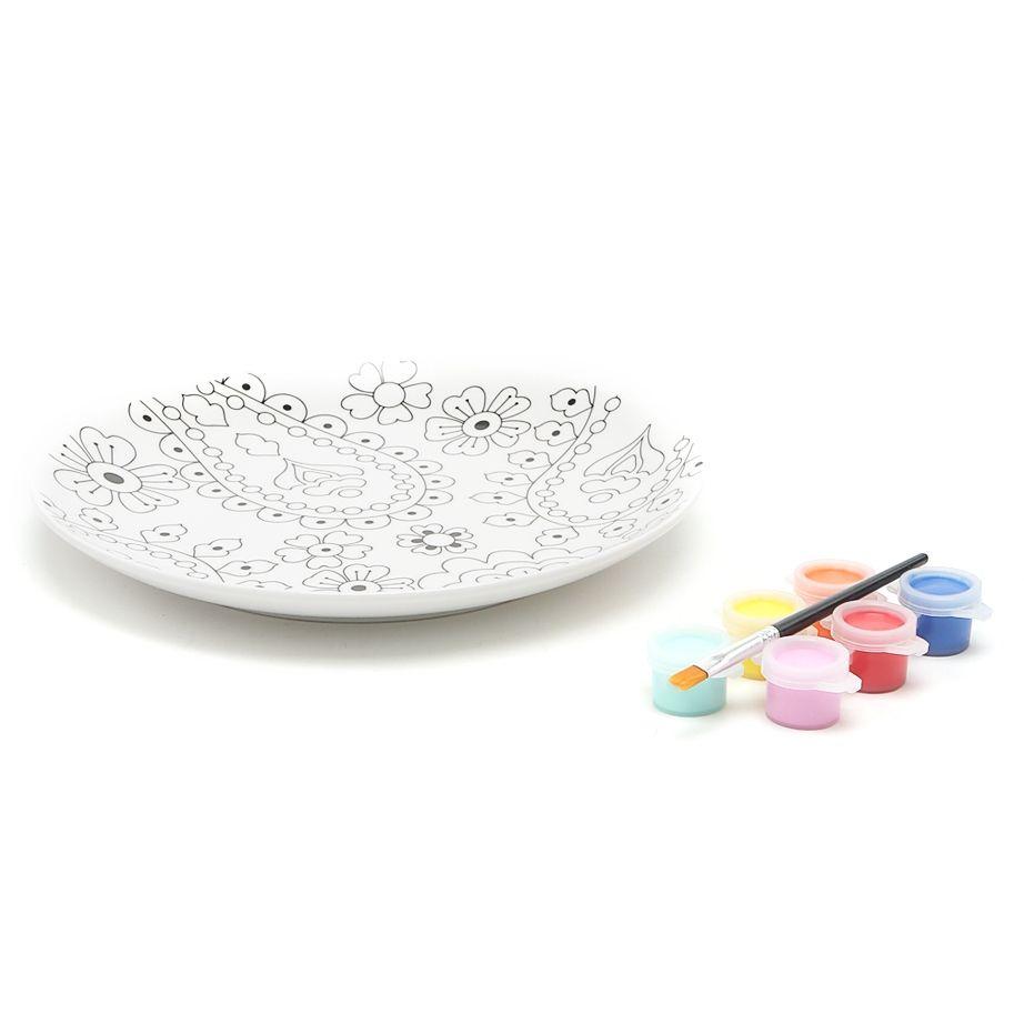 Набор: Тарелка, краски, кисточка Кашемир199CACH Тарелка,краски, кисточка Кашемир D19.5см,фарфор<br>
