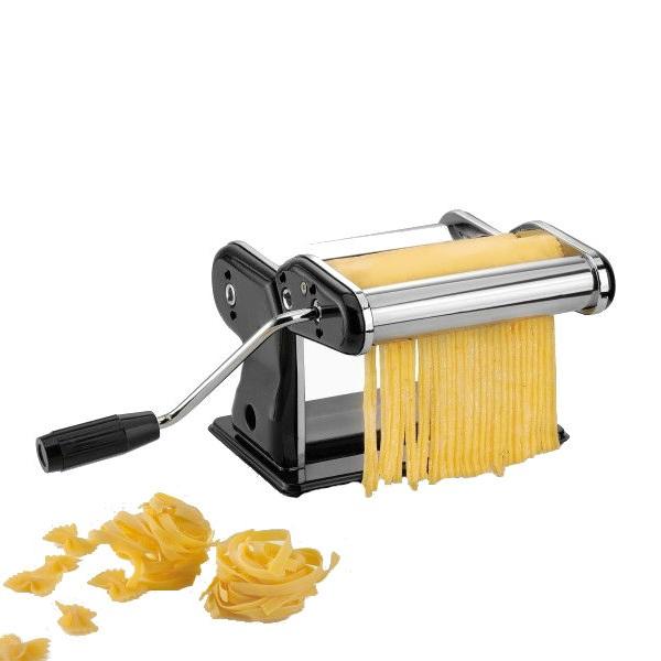 Машинка для приготовления пасты GEFUМашинка  для приготовления пасты Паста Перфетто Неро отличается компактностью, легкостью в обращении и продуманность деталей. Хромированный корпус изготовлен из нержавеющей стали. Пластиковая ручка не скользит в руке. В машинке предусмотрена нарезка для лапши разной толщины и размера. Чтобы в процессе приготовления машинка не ерзала по стулу в нижней части конструкции есть зажим для прикручивания к краю стола.<br>