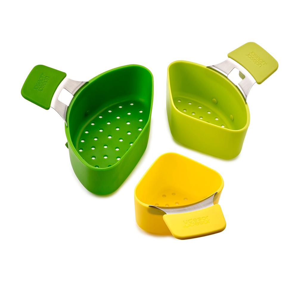 Набор из 3 пароварок для кастрюли Nest коmпактныйНабор из трех пароварок для кастрюли Нест знаменитого бренда Джозеф Джозеф – это компактный и универсальный комплект удобных емкостей для приготовления вкусной и полезной пищи на пару. Он станет оптимальным выбором для любых разновидностей продуктов и поможет обогатить рацион семьи новыми аппетитными угощениями. Подвесные пароварки из набора Нест сконструированы специально для крепления к краю кастрюли и оборудованы удобными зацепками. Комплект моется в посудомоечной машине, он удобен в хранении – пароварки вкладываются одна в другую.<br>