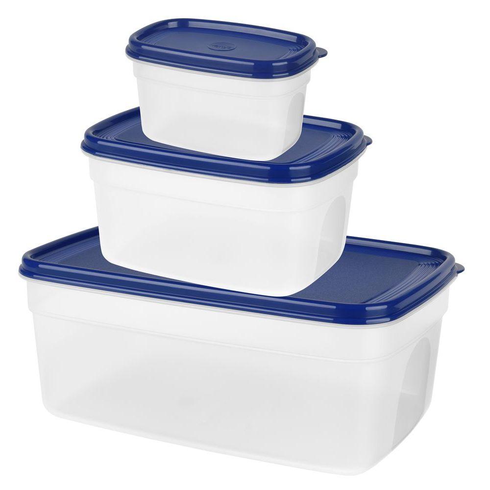 Набор контейнеров SUPERLINE  3 шт (0,5л/1,2л/2,2л) синяя крышкаНабор контейнеров SUPERLINE  3 шт (0,5л/1,2л/2,2л) синяя крышка<br>