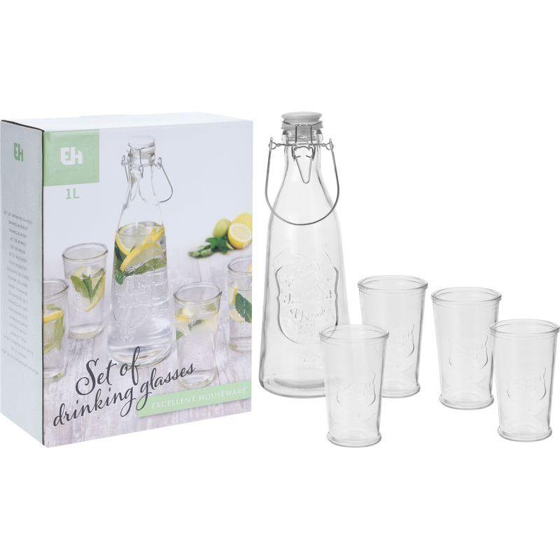 Набор д/напитков (бутылка 1л+стаканы 250 мл 4 шт)сосуды для питья без ножки из простого стекла механичес. набора, нерезн. - стаканы,. 4 шт, объём 250 мл, в наборе с бутылкой для воды, объйм 1 лтр.,упак. в карт. кор. разм. 72x72x115mm<br>