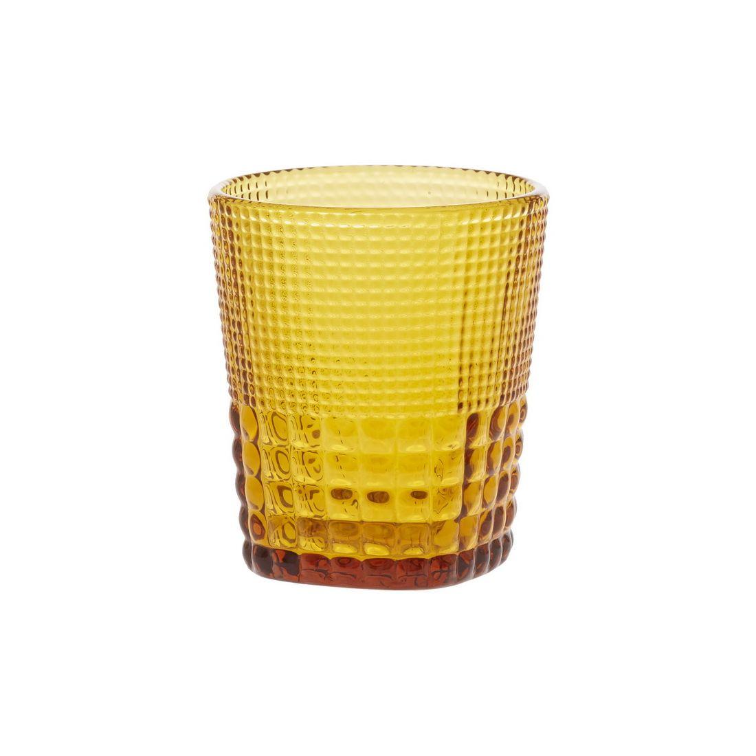 Стакан для напитков Royal drops, янтарьСтакан для напитков Ройял дропс создан компанией Магиа Густо. Он сделан из стекла оригинальнго янтарного цвета. Этот материал гигиеничен, хорошо сохраняет температуру налитого в стакан напитка. Изделие станет истинным украшением любой сервировки и будет уместно на любом празднике и за повседневным приемом пищи. Его форма, слегка расширяющаяся кверху, эстетична, а рельефная поверхность удобна и приятна на ощупь. Стакан Ройял дропс универсален и подходит для любых горячих и холодных напитков – чая, вина, воды или сока.<br>