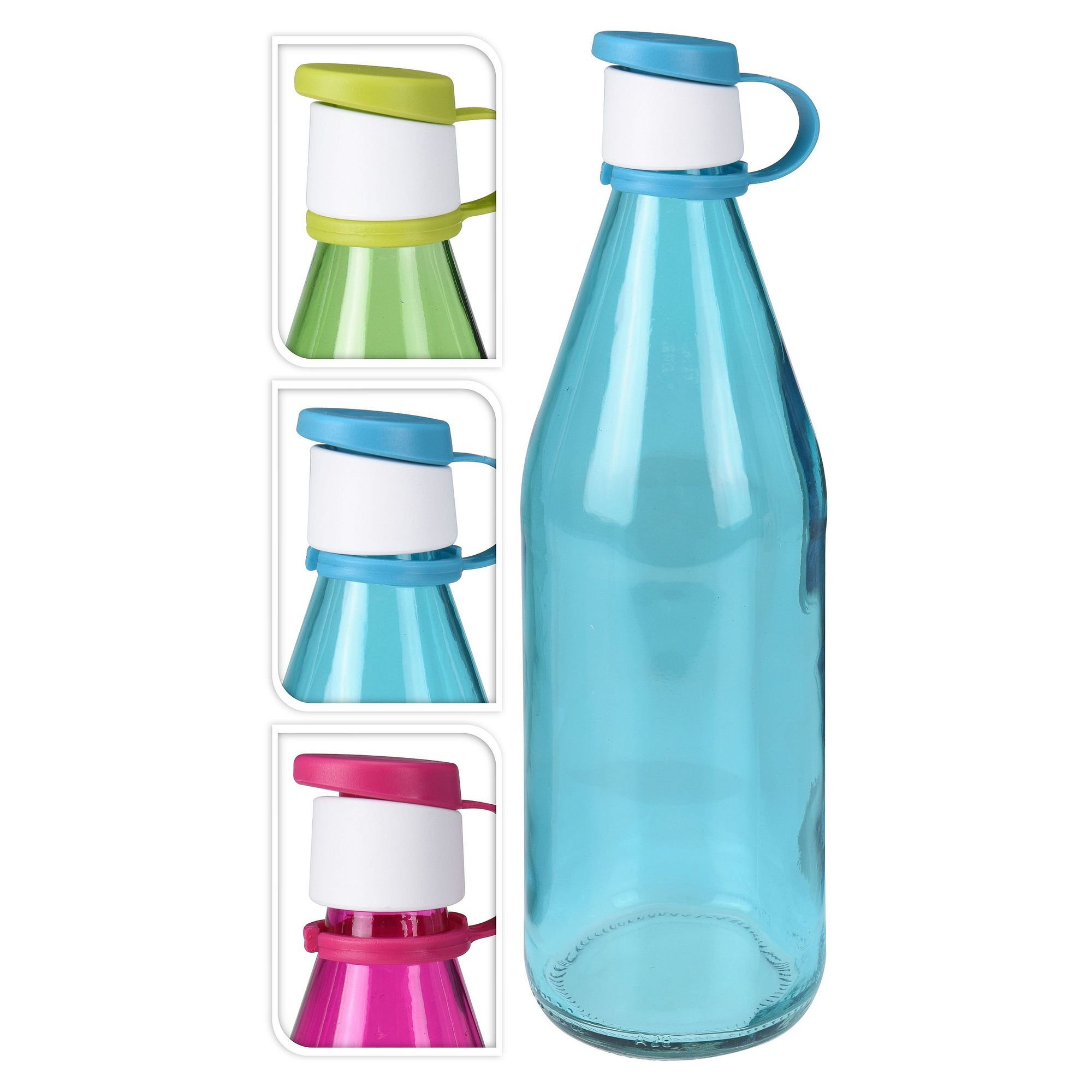 Бутылка 1 л цвет в ассортиментеСтеклянная бутылка, выполненная из прочного стекла, необходима любой хозяйке. Эргономичная форма изделия обеспечивает надежный захват и устойчивость. Изделие оснащено герметичной пластиковой крышкой, что дает возможность хранить продукты в холодильнике. Специальный клапан откидывающейся крышки полностью исключает разлив жидкости. Бутылка имеет достаточно широкое горлышко, что облегчает процесс мытья. Прозрачное светло-зеленое стекло позволяет видеть продукт в емкости. Бутылку можно использовать для транспортировки и хранения любых жидкостей. Изделие можно мыть вручную теплой водой или в посудомоечной машине.<br>
