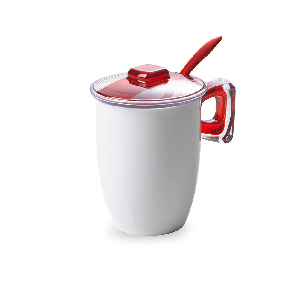 Кружка для заваривания чая с крышкой, ложкой и фильтром 0,35 л Square, красная