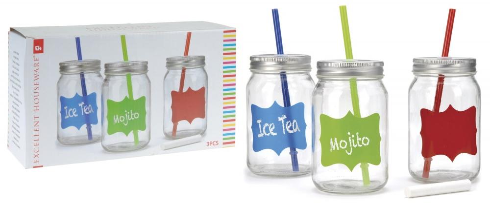 Набор стаканов в форме банки с крышками и соломками