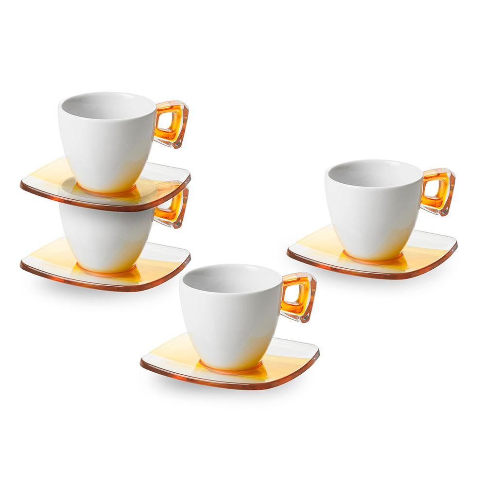 """Купить со скидкой Набор чашек для чая с блюдцами 4 шт 0,2 л Omada """"Square"""""""