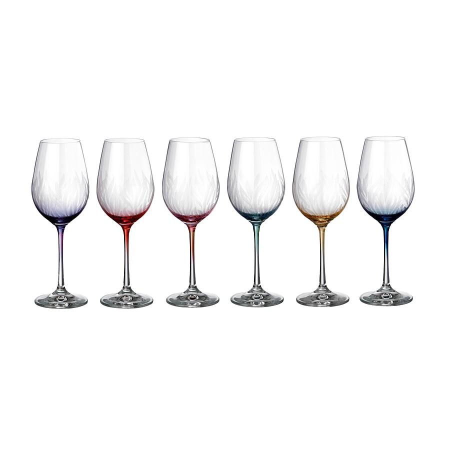 Набор бокалов д/вина 6 шт Виола 250 mлНабор бокалов для вина Виола состоит из шести изящных экземпляров. Он изготовлен из чешского стекла, причем его главная изюминка - в ножках бокалов, которые выполнены в разнообразных цветах. Тем самым производитель предлагает свободу для остального оформления праздничного стола. Бокалы выглядят изысканно и изящно. При грамотном обращении набор прослужит долгие годы, поскольку стекло не мутнеет. Советуем не допускать ударов и падений, мыть изделия отдельно от остальной посуды, впоследствии вытирая салфетками без ворса. Для бокалов предпочтительна мойка вручную.<br>