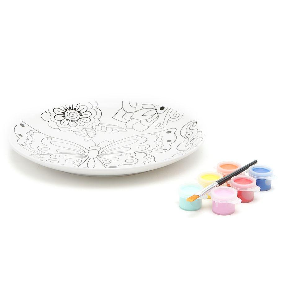 Набор: Тарелка, краски, кисточка Бабочки199BUTY Тарелка,краски,кисточкаБабочки D19.5см,фарфор<br>