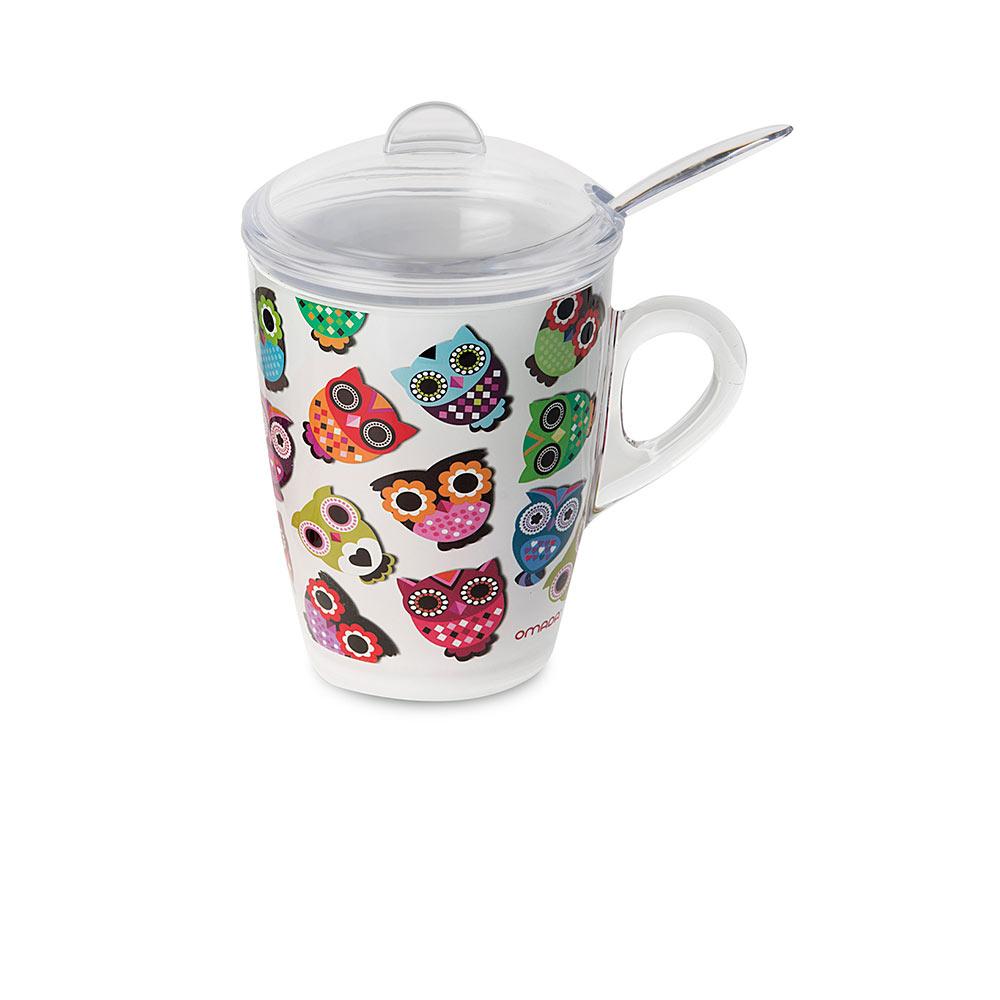 """Кружка для заваривания чая с крышкой, ложкой и фильтром 300 мл Omada """",Plexart Magic Owlet"""","""