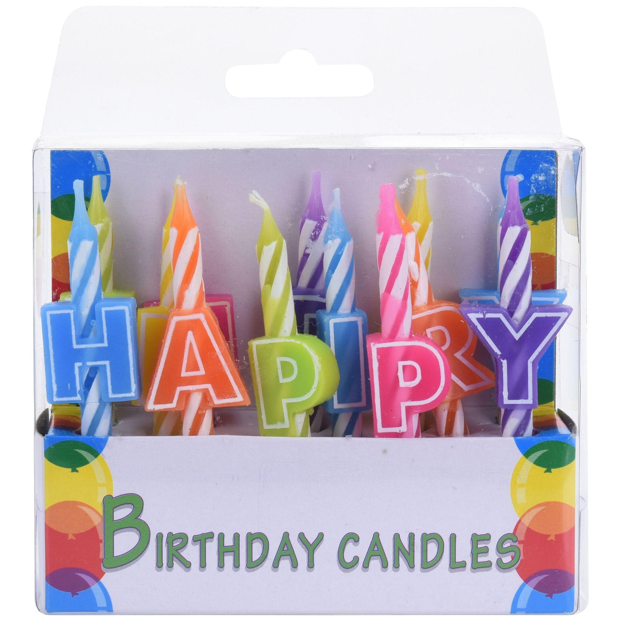 Набор свечей праздничных 13 шт.Набор праздничных свечей известного бренда Excellent Houseware предназначается для украшения праздничного стола по случаю дня рождения ребенка или взрослого. В комплект входит 13 длинных разноцветных свечей, на каждой из которых прикреплена определенная буква. Если расположить их в правильной последовательности, тогда торт, пирожное или капкейк будет украшать надпись Happy Birthday. Благодаря держателям свечи надежно и прочно фиксируются в основе, не заваливаются и не выпадают.Продукция изготовлена из натурального и экологически чистого материала, благодаря чему допускается ее контакт с приготовленной пищей. Также свечи абсолютно безопасны для здоровья ребенка и окружающей среды.<br>